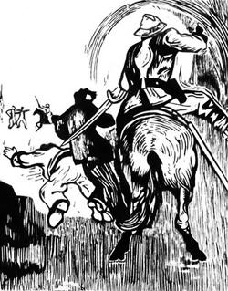М. Грубер Коррея. «Полицейское насилие». Гравюра на дереве. 1953
