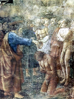 Мазаччо (Томазо ди сер Джованни ди Моне Кассаи, 1401-1428). Крещение обращенного